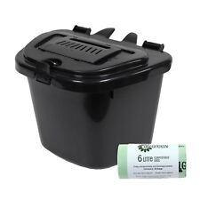 Black Kitchen Compost Caddy & 50 compostable bags - 5 Litre 5L
