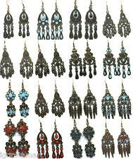 NUOVA linea donna bronzo Dangle Lampadario Borchie Orecchini a cerchio Amo Design UK POST