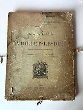 RARE Antique Book 1880 DESSINS INEDITS DE VIOLLET-LE-DUC De Baudot Roussel Paris