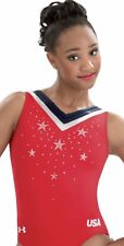 Under Armour GK ELITE gymnastics Leotard TRIUMPH Rhinestones USA Star Sparkle CM