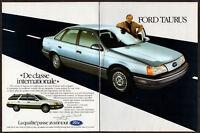 1986 FORD Taurus Vintage Original 2 page Print AD Gray car photo Jacques Duval