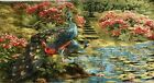 Tapestry Fabric Textile Picture Peacocks At Water Flower Nature Panels Approx.