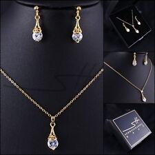 Schmuckset Halskette+Ohrhänger *Tropfen* Gelbgold pl., Swarovski Elements, +Etui