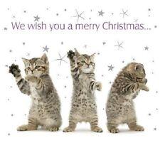 """""""pequeño gatito gato atigrado deseos de bailar cuadrado pequeño paquete de 10 Tarjetas de Navidad"""