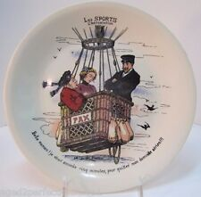 Antique LES SPORTS L'Aerostation' Plate HOT AIR BALLOON Ride Boch La Louviere
