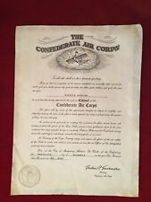 1954 THE CONFEDERATE AIR CORPS DOCUMENT ISSUED TO OFFICER IN AIR FORCE