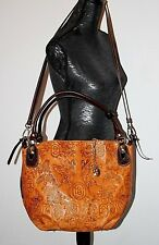 Marino Orlandi Signature Butterfly Embossed Leather  Large Tote Hand Bag  Italy