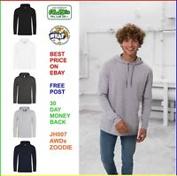 MENS AWDis TOODIE 100% Cotton T-Shirt Hoodie, Softfeel Lightweight Tee 5 COLOURS