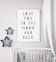 I Love You Moon and Back Grey & White Kids Room Nursery Wall Art Poster Print
