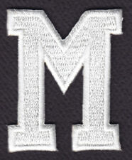 """LETTERS - WHITE BLOCK LETTER """"M"""" (1 7/8"""") - Iron On Embroidered Applique Patch"""