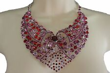 Women Lapel Fashion Bib Necklace Fancy Silver Metal Pink Red Rhinestones Collar