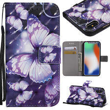 Hot 3D Painted Butterfly Leather Wallet Purse Women Case Cover For Various Phone