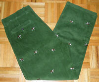 J Crew Corduroy Pants Green Dogs Embroidered Saint Bernard Cords Size 36 W 30 L