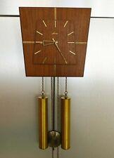 Vintage Wanduhr Palisander / Teak Holz, Messing Gewichte, sehr schön