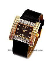 Omax Mujer Diamante Reloj con Esfera Negra, Acabado Dorado, Seiko Movt