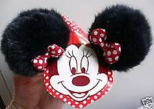MINNIE MOUSE~Black~Fur~EARS+Red Bow~Costume~2 HAIR CLIPS~NWT~Disneyland Parks