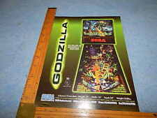 1998 Sega GODZILLA Pinball Game Advertising Flyer