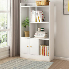 White Bookshelf Kids 2 Door Cabinet Bookcase Storage 4 Cube Book Shelf Unit Rack