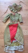 3 Pc Victorian 19Th C Children's Doll Dress Handmade Lace Skirt Bodice Bonnet