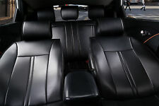 Non-Slip Leather Car Seat Covers w Cushion Compatible to Toyota 2099 Black