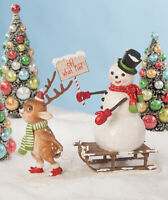 Bethany Lowe Designs: Christmas;  OH WHAT FUN Snowman w/Reindeer #TD8546