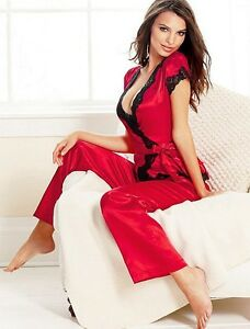 Ladies Nightdress Size M Lace Underwear Womens Set New Gown Pyjamas Sleeve UK10