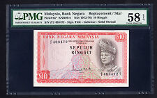 Malaysia 1972-76 10 Ringgit $10  P. 9a  PMG 58 EPQ Choice AU Replacement Z/2