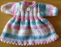 """Dolls clothes hand knitted for 12 - 14"""" 30-36 cm doll's dress - really cute"""