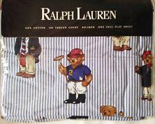 RALPH LAUREN POLO MULTI-BEAR PATTERN SHEET, BLUE STRIPE, NIP, DOUBLE FLAT, #2