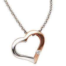 Damen Collier Kette mit Anhänger Herz 585 Gold bicolor 1 Diamant Brillant 42 cm
