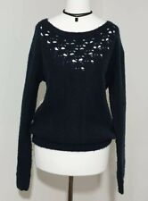 Ladies Winter Jumper Size UK-10 Navy BLUE Boat Neck Loose Knit Women's Casual