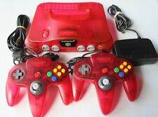 Nintendo 64 N64 Watermelon Red Console 2 OEM Controllers Atomic Clear Bundle Lot