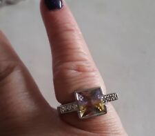 New  Sterling Silver Ring Cubic Zirconia Mixed Colour Square Stone  -7