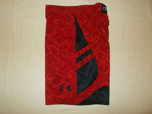UNDER ARMOUR RED/BLACK ATHLETIC BASKETBALL SHORTS MENS MEDIUM EXCELLENT COND.