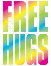 FREE HUGS MULTICOLOUR T-SHIRT-WOMENS MENS -S M L XL 2XL 3XL 4XL 5XL