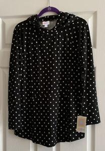 NWT Lularoe Amber Hoodie - Size Large - Black & White Polka Dot Print - Very HTF