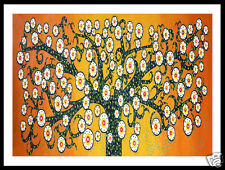art painting poster print abstract  tree life orange landscape aboriginal