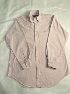 Ralph Lauren Shirt 16 (34) Pink Stripe Yarmouth Long Sleeve Mens Brown Pony B8