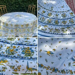 """French Provencal Coated Cotton Tablecloth Moustiers Birds/Flowers Blue Round 71"""""""