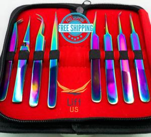 8 PCS Eyelashes Extension Tweezers Set Multicolor Rainbow New Beauty Tools Kit