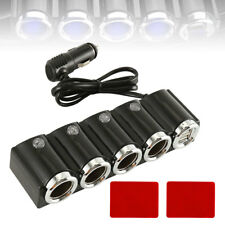 4 way Car Multi Cigarette Lighter Socket Splitter 2USB Charger 12V Power Adapter