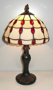 Red Jewel Design Tiffany Stained Glass Table Lamp JUL8TL1
