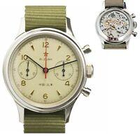 New Seagull Movement Star Army 1963 Pilot Watch Men Panda Mechanical Chronograph