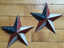 "(Set of 2 )  5.5"" PATRIOTIC AMERICANA PRIMITIVE AMERICAN G8T W BLACK BARN STARS"