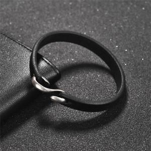 Jiayiqi Men Bracelet Vintage Black Leather Hook Bracelet Wristband 20cm 148