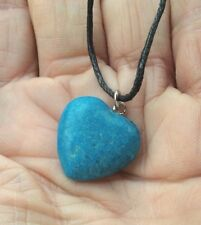 TURQUOISE BLUE HOWLITE CRYSTAL POLISHED HEART PENDANT - NECKLACE CORD BAG CARD