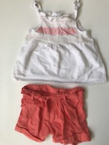 Janie and Jack Butterfly Garden linen shorts and top orange size 5T  C15