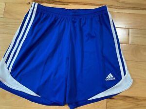 ADIDAS Royal Blue & White Men's Athletic Shorts Sz Medium Elastic Waist W/Tie