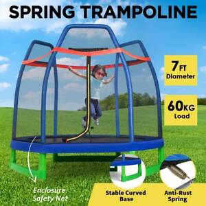 7FT Kid Trampoline Round Trampolines Bounce Jumper Enclosure Safety Net Outdoor