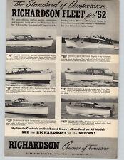 1952 PAPER AD Richardson Motor Boats Yacht 36' 40' Double Cabin 33' 27' Cruiser